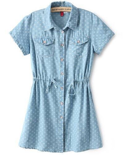 Blue Short Sleeve Drawstring Snowflake Print Dress