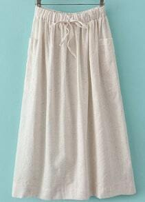 White Drawstring Waist Pockets Pleated Skirt