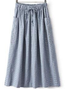 Blue Drawstring Waist Pockets Pleated Skirt