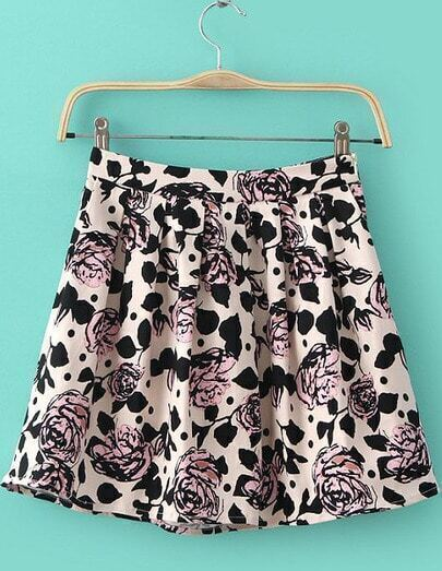 Apricot Floral Pleated Skirt
