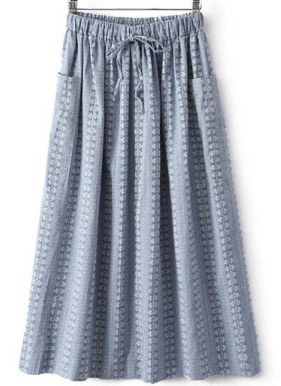 Blue Drawstring Waist Pockets Pleated Skirt