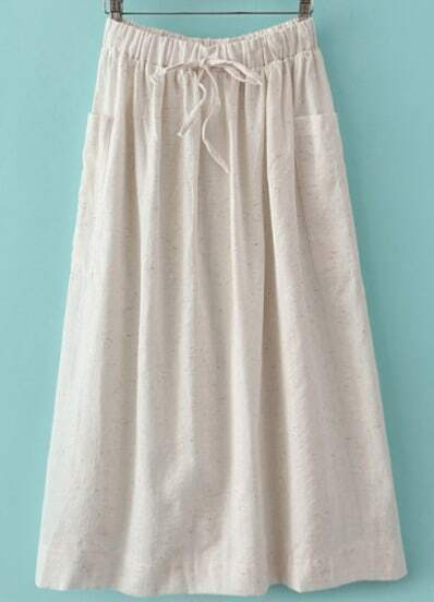 White Drawstring Waist Pockets Pleated Skirt