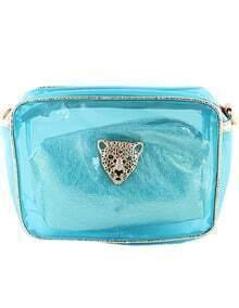 Blue Leopard Head Embellished Bag