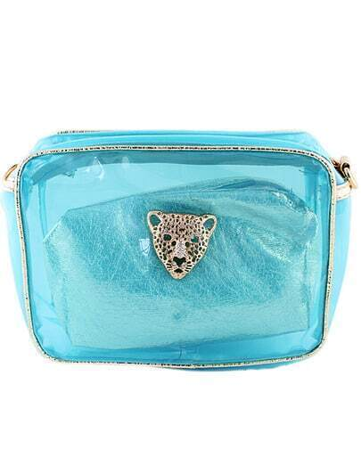 Blue Leopard Head Embellished Bag