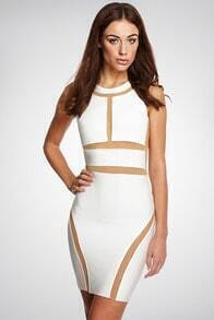 White Sleeveless Contrast Mesh Yoke Bandage Dress