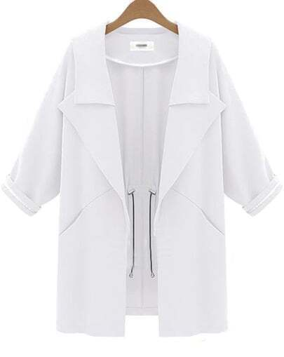 White Lapel Long Sleeve Pockets Coat