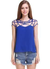 Blue Hollow Out Loose Chiffon Top