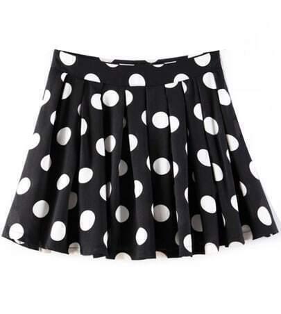Black and White Polka Dot Flare Skirt