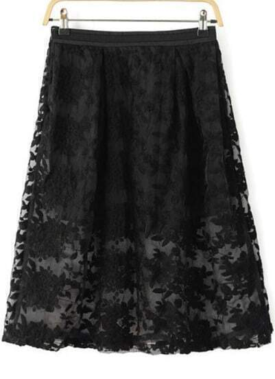 Black Embroidered Slim Organza Skirt