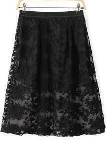 Black Embroidered Slim Organza Skirt