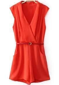 Red V Neck Sleeveless Pockets Jumpsuit