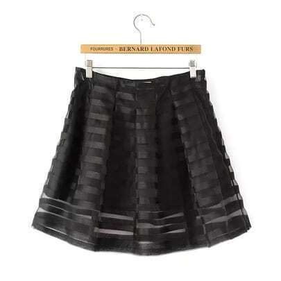 Black Striped Organza Flare Skirt