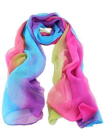 Multicolor Rainbow Print Scarves