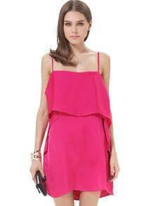 Rose Red Spaghetti Strap Ruffle Chiffon Dress