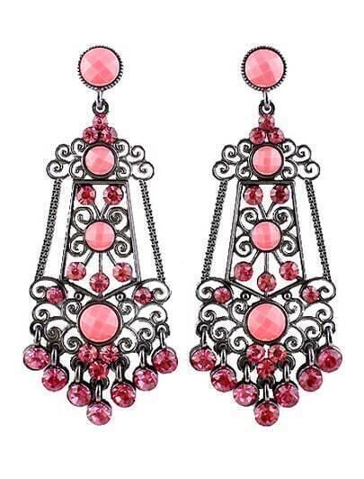 Red Gemstone Retro Silver Hollow Earrings