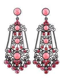 Red Gemstone Retro Silver Hollow Earrings