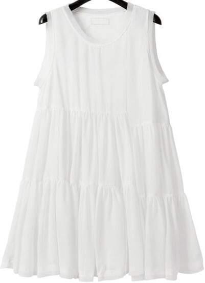 White Sleeveless Pleated Chiffon Loose Dress