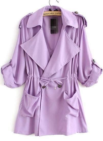 Trench suelto solapa bolsillos-violeta