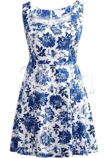 Blue and White Porcelain Print Sleeveless Short Dress