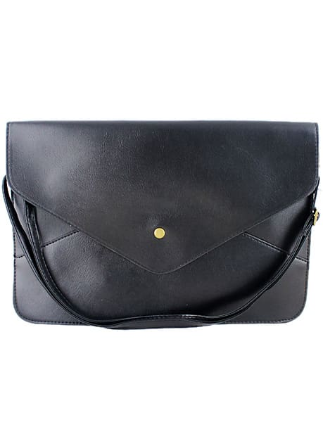Black Zipper Envelope Clutch Bag
