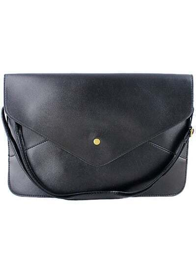Black Zipper Envelope Clutch Bag
