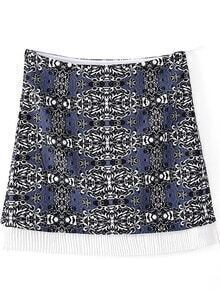 Blue A-line Tribal Print Short Skirt