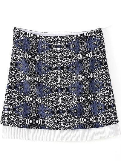Blue A-line Tribal Print Short Skirt