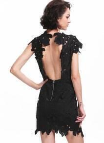 Black Short Sleeve Floral Crochet Bodycon Dress