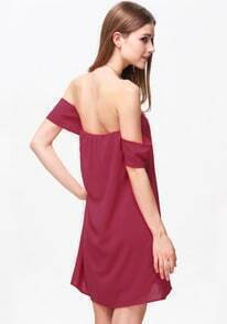 Red Off the Shoulder Strapless Loose Dress