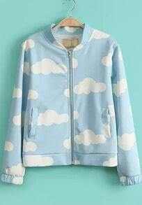 Blue Stand Collar Long Sleeve Clouds Print Jacket