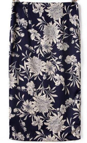 Тёмно-синяя цветочная юбка с разрезом