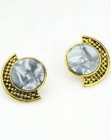Grey Gemstone Gold Stud Earrings