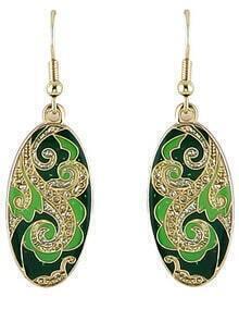 Green Glaze Gold Vintage Dangle Earrings