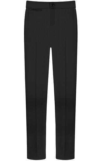 Black Button Fly Slim Pant