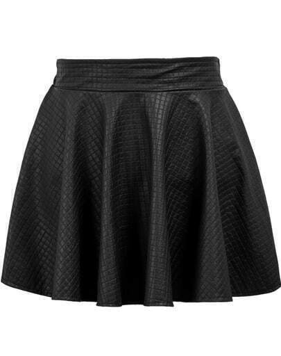 Black Elastic Waist Plaid Pleated Leather Skirt