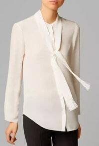 White Long Sleeve Tie Front Tassel Blouse
