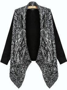 Black Contrast Grey Long Sleeve Knit Loose Cardigan