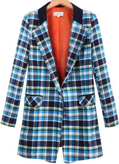 Blue Lapel Long Sleeve Plaid Pockets Blazer