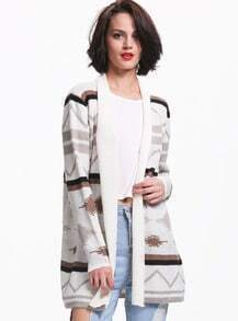 White Long Sleeve Geometric Knit Cardigan
