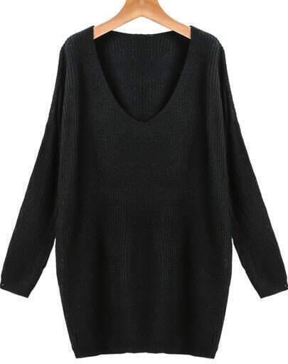 Black V Neck Long Sleeve Loose Knit Sweater