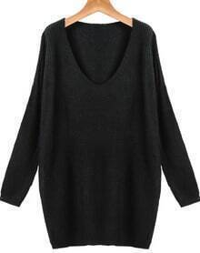 Black V Neck Long Sleeve Loose Knit Sweater