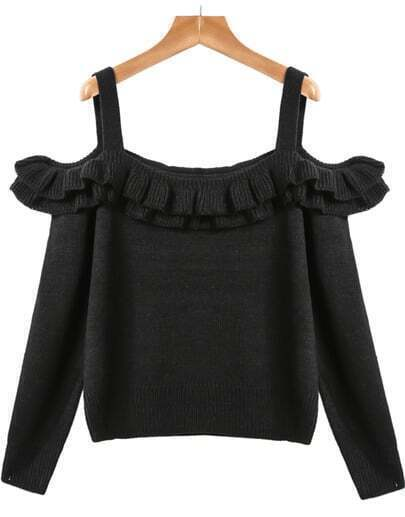 Black Off the Shoulder Ruffle Knit Sweater