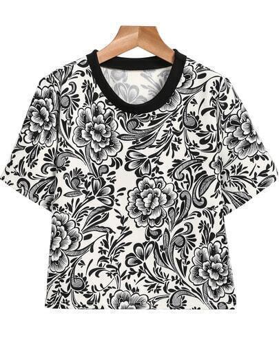 Black Short Sleeve Vintage Floral T-Shirt