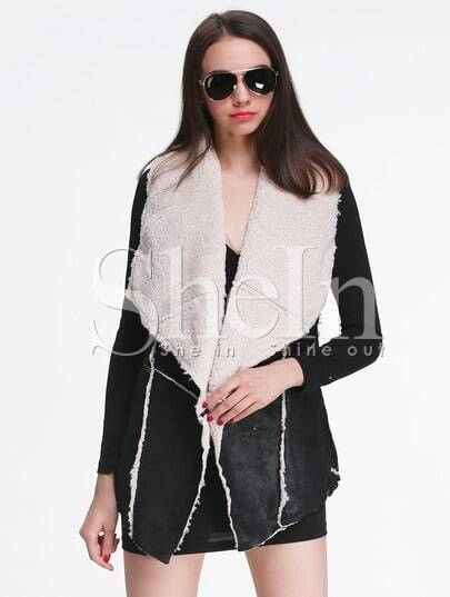 Black Sleeveless Contrast Apricot Lapel Outerwear