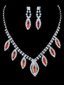Red Gemstone Silver Diamond Necklace With Earrings