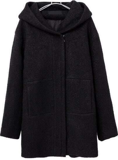 Black Hooded Long Sleeve Pockets Woolen Coat