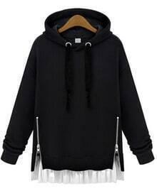 Black Hooded Long Sleeve Zipper Loose Sweatshirt