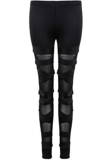 Black Slim Hollow Bandage Leggings