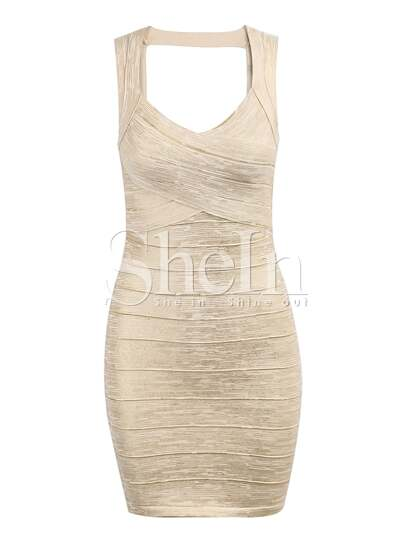 Apricot With Gold Stamping Sweetheart Neckline Backless Bandage Dress