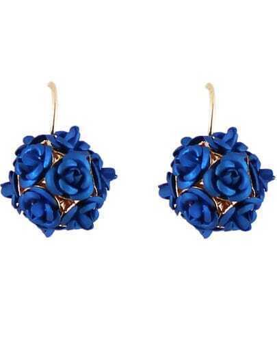 Blue Flower Ball Earrings